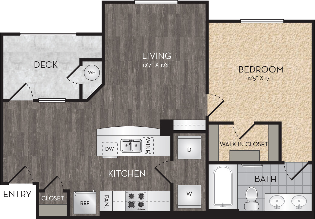 Plan A2 - 1 Bedroom, 1 Bath Floor Plan
