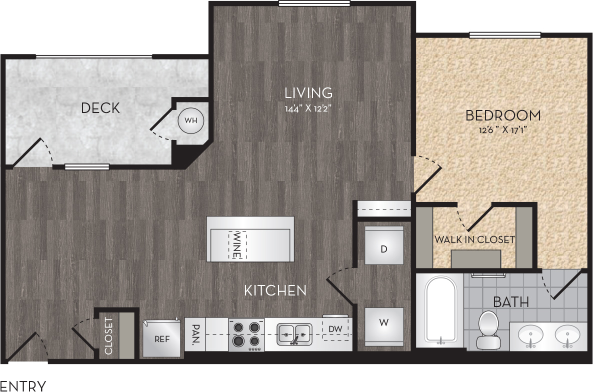 Plan A3 - 1 Bedroom, 1 Bath Floor Plan