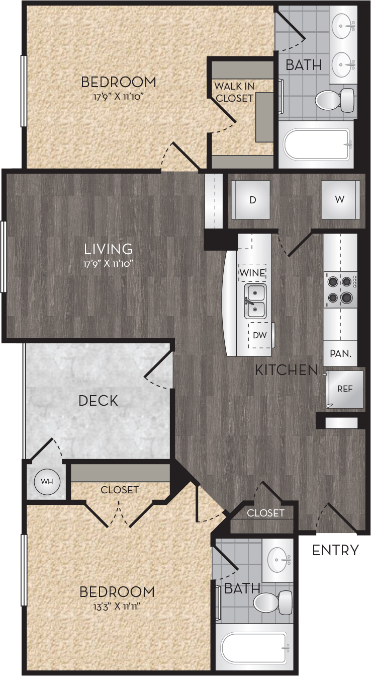 Plan B1 - 2 Bedroom, 2 Bath Floor Plan