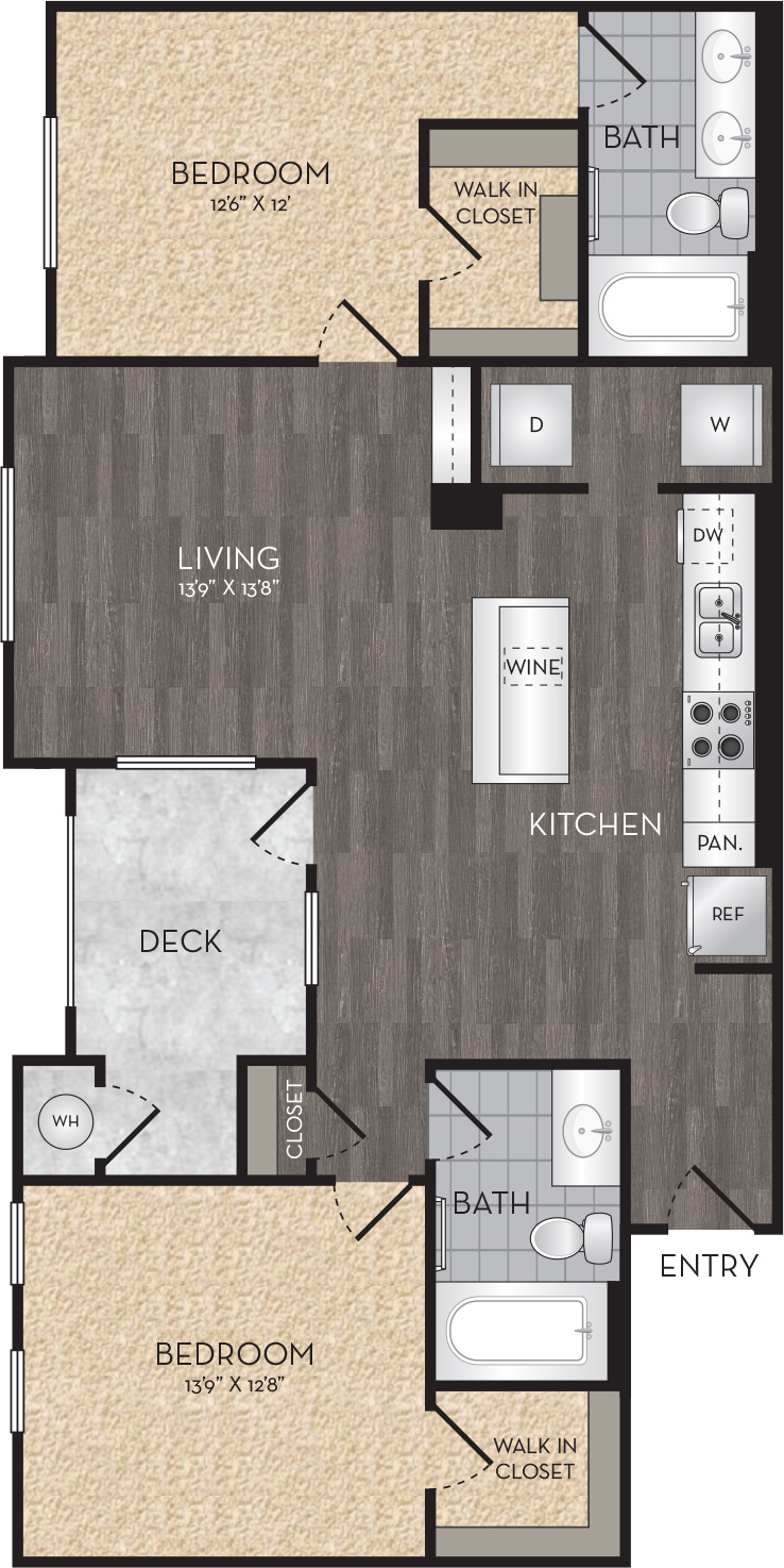 Plan B2 - 2 Bedroom, 2 Bath Floor Plan