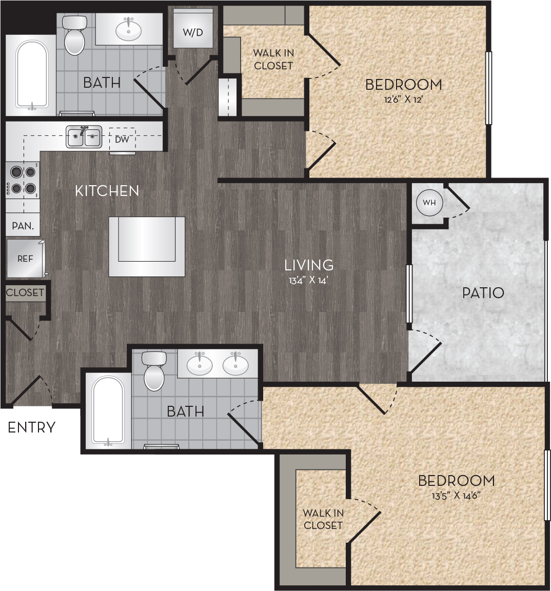 Plan B3 - 2 Bedroom, 2 Bath Floor Plan