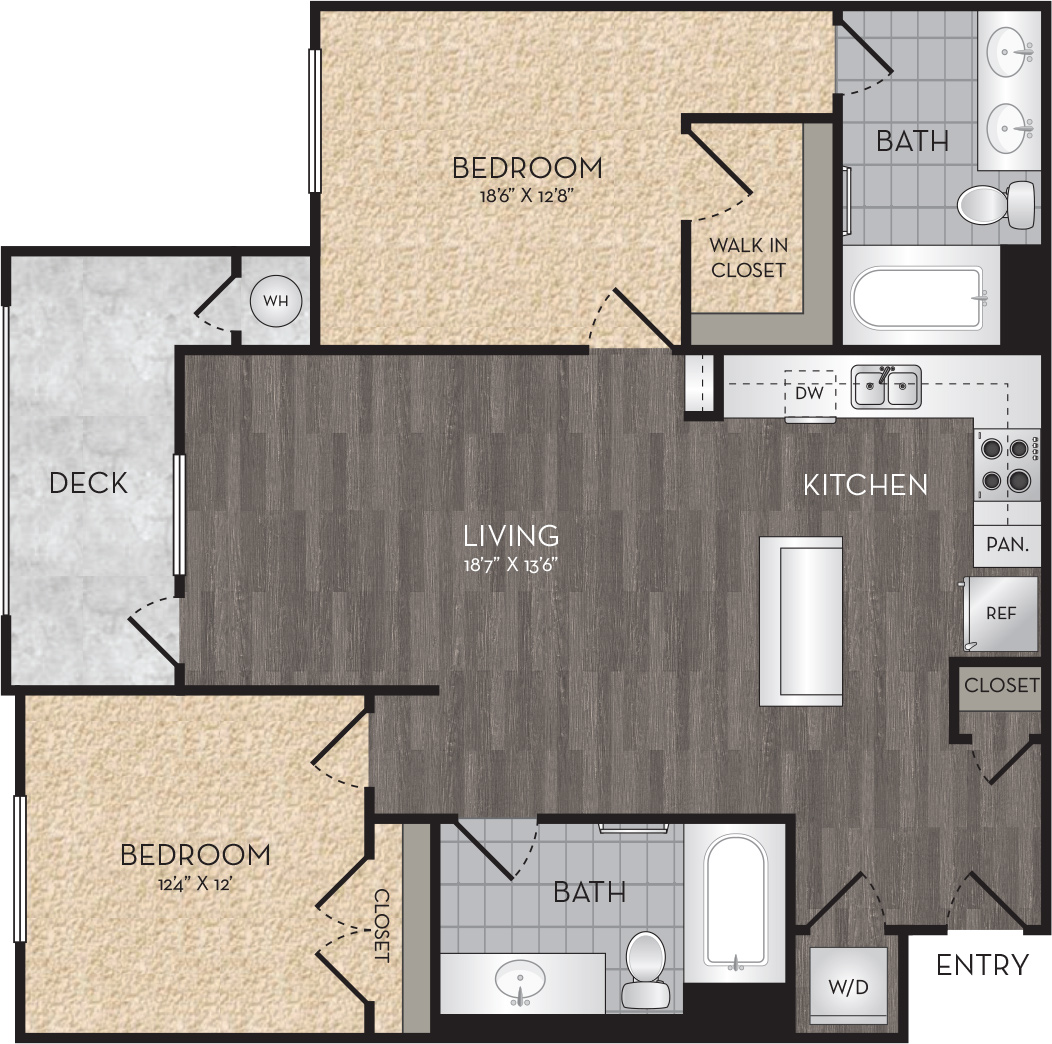 Plan B4 - 2 Bedroom, 2 Bath Floor Plan