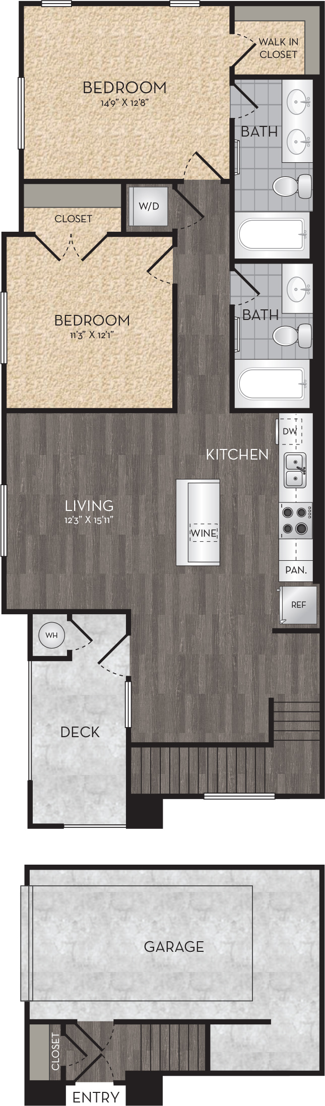 Plan B5 - 2 Bedroom, 2 Bath Floor Plan