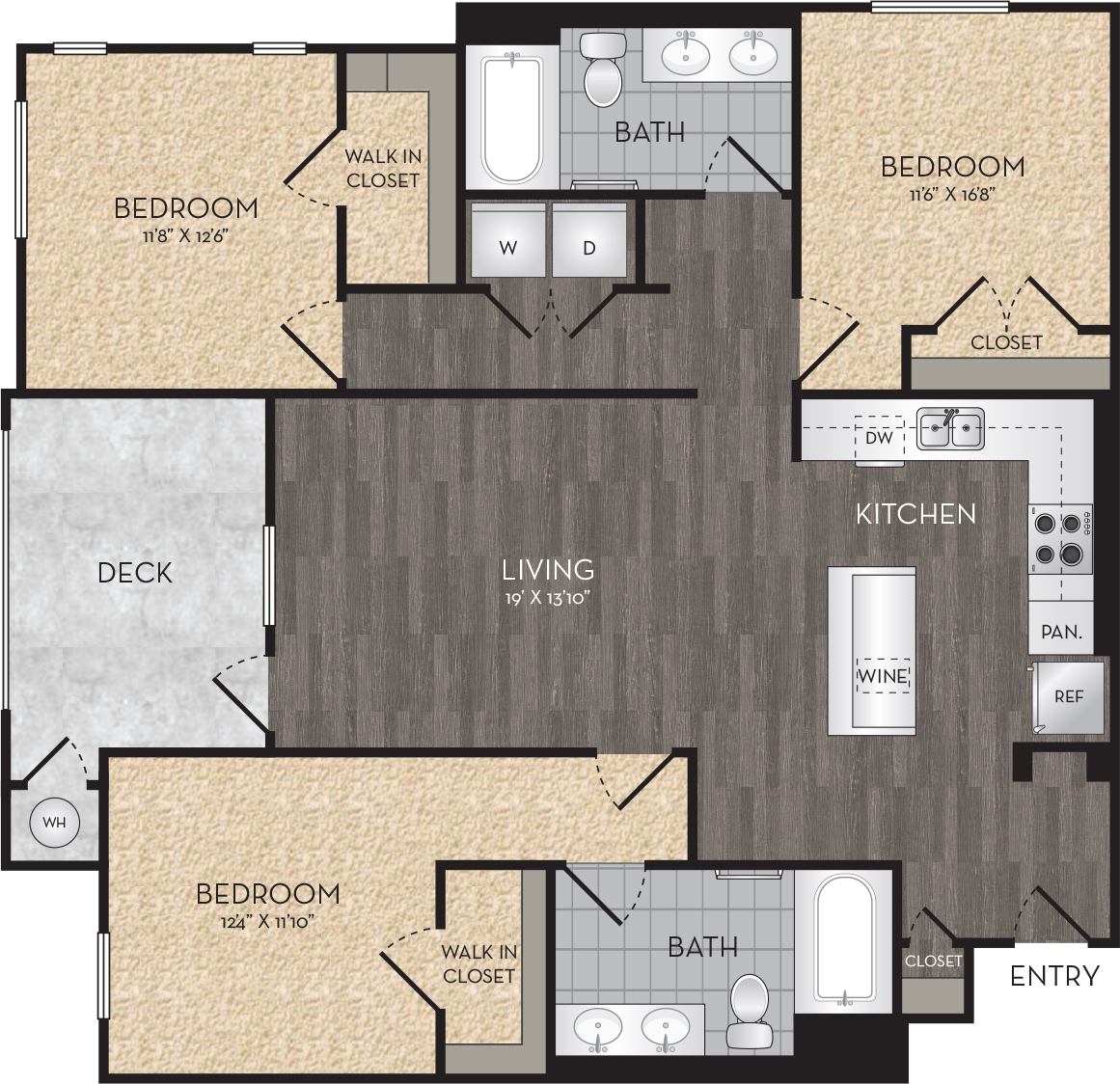 Plan C1 - 3 Bedroom, 2 Bath Floor Plan